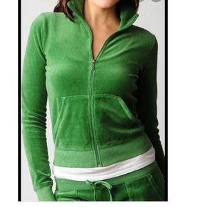 Juicy couture Orange label green velour jacket S